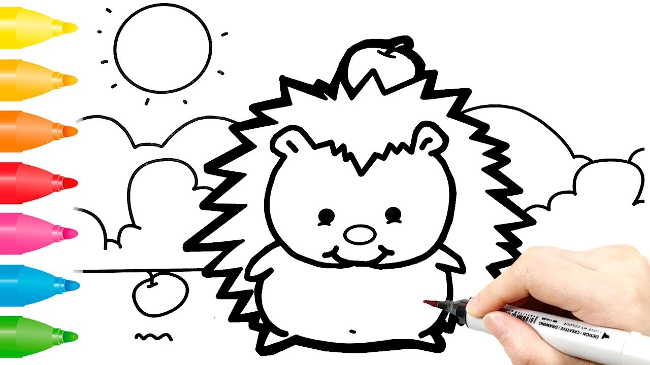 Hedgehog Coloring Pages Draw Cute Hedgehog For Kids Youtube