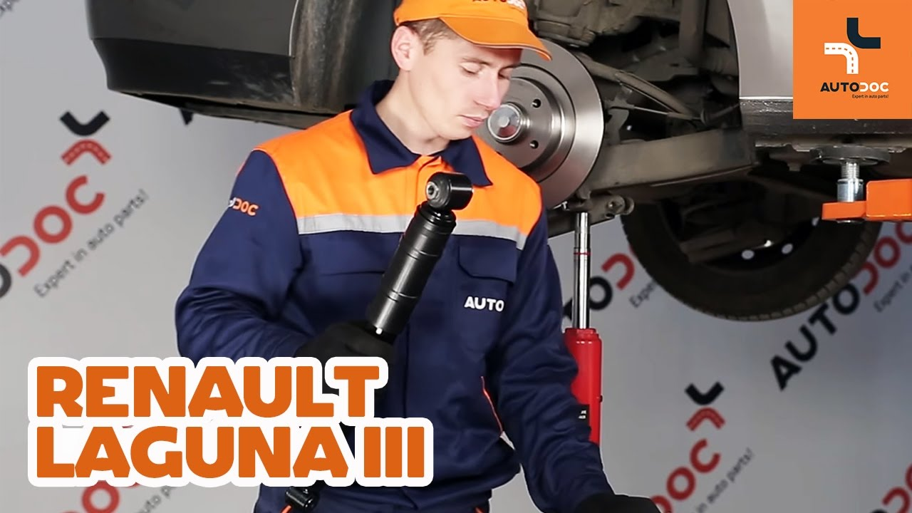how to replace rear shock absorbers on renault laguna 3 tutorial autodoc youtube. Black Bedroom Furniture Sets. Home Design Ideas