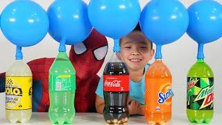 Spider-Man Mentos Coke Balloon Challenge! CKN Toys
