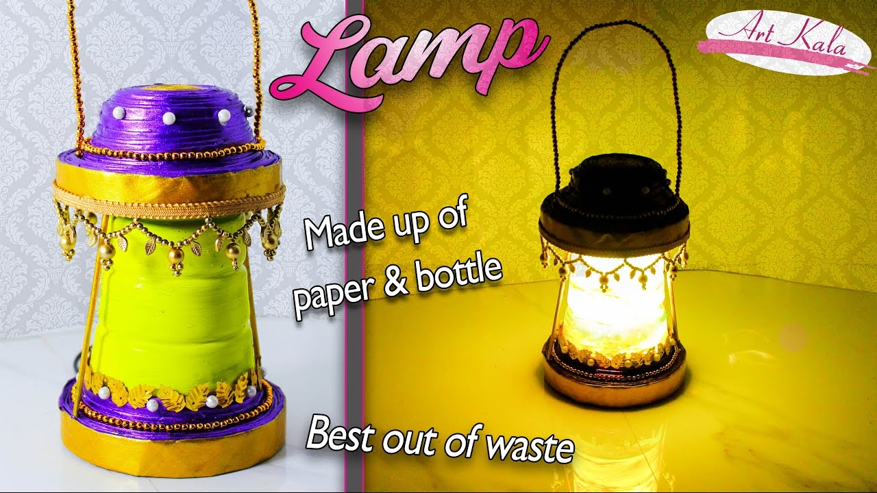 How to make lamp table lamps best out of waste home for Home decor using waste