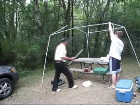 Setting up a Canopy in the campgrounds