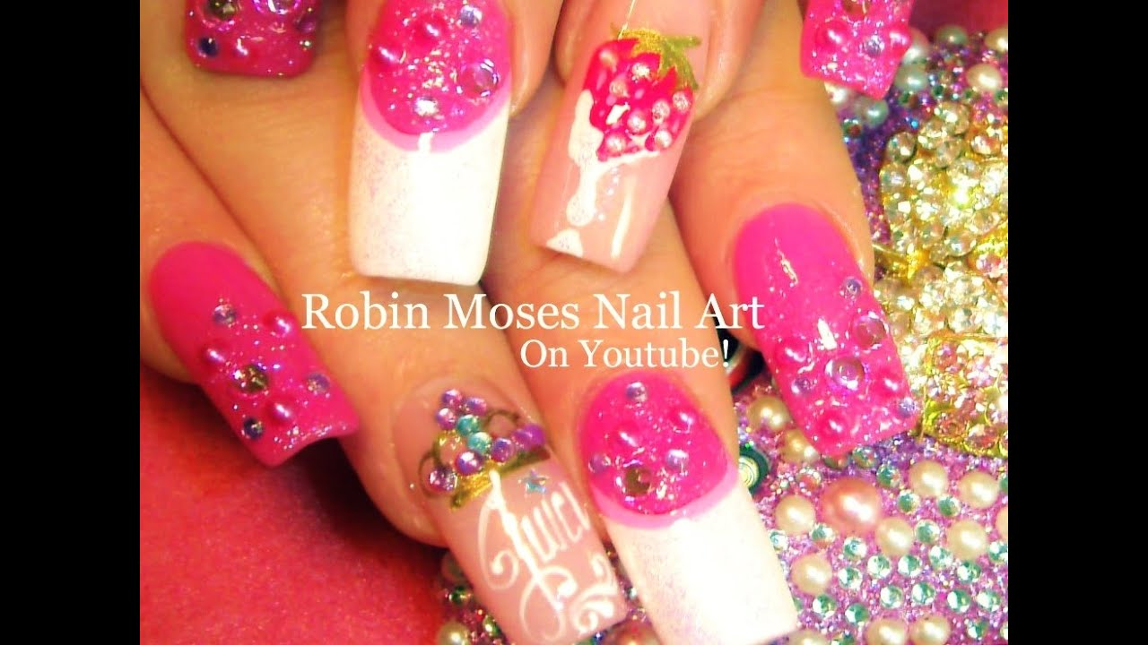 Nail Art | Strawberry Nails | Diamond Gems & Pink Crown Nail Design ...