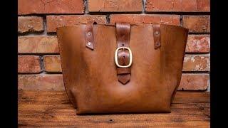Кожанная сумка шоппер своими руками, простейшая выкройка из цельного куска кожи.