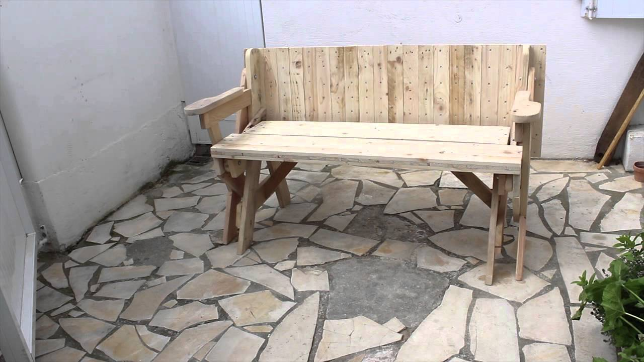 Banc table convertible 2 en 1 avec plan youtube for Banc en bois de palette