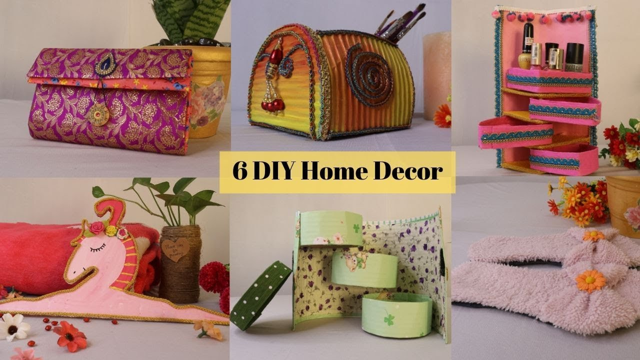 6 Wonderful Diy Home Decor Craft Ideas With Cardboard Home Organizers By Aloha Crafts Youtube