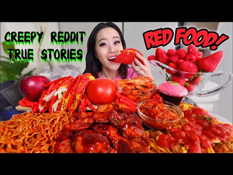 ONLY RED MUKBANG (Nuclear Noodles, Spaghetti, Korean Fried Chicken) 먹방 | Eating Show להורדה