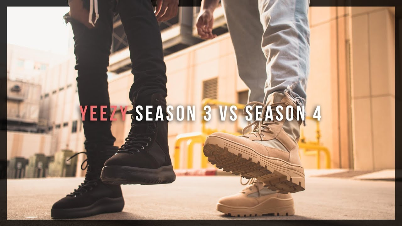 fb7d8d46486 YEEZY SEASON 3 vs SEASON 4 BOOTS    review + on feet - YouTube
