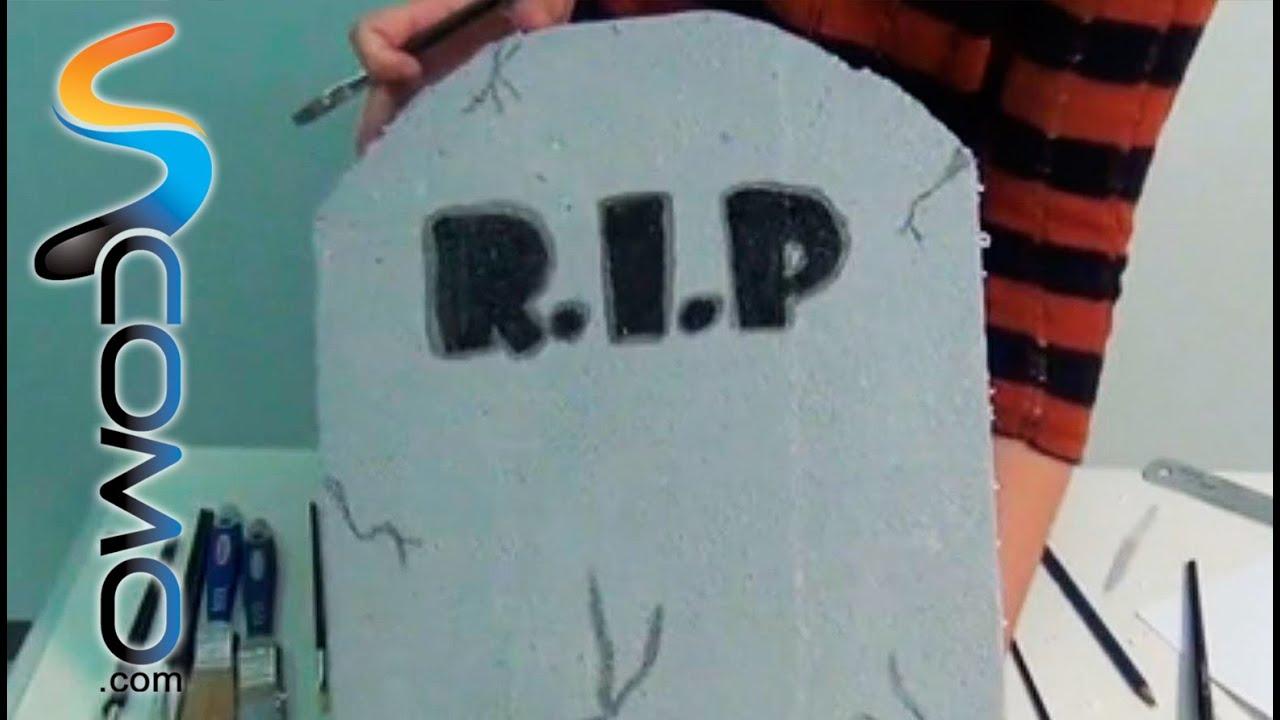 Lápida con R.I.P. para Halloween - YouTube