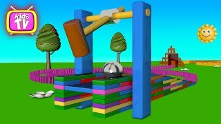 Learn colors with domino cubes and toys - 3D Cartoons for children Video for kids
