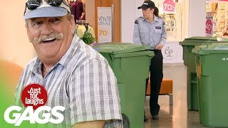 Trash Cans Gang Up On People - Just For Laughs Gags