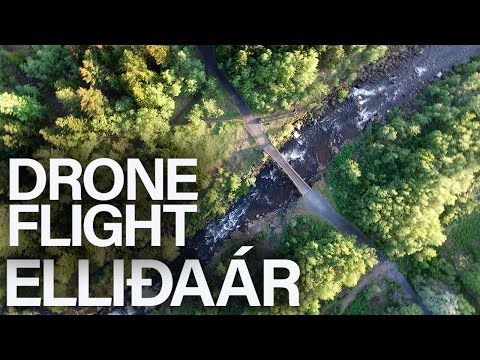 Drone flight over Elliðaá River in Reykjavík
