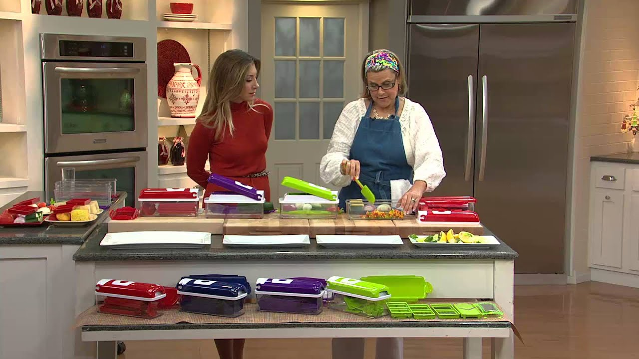 genius nicer dicer plus 10 piece multi chopper with stacey. Black Bedroom Furniture Sets. Home Design Ideas