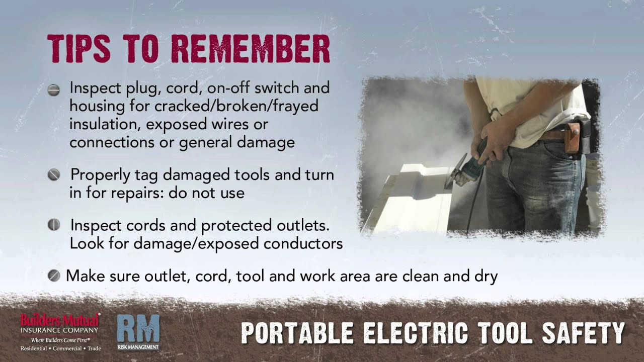 electrical safety and tools Electrical safety hazards awareness this guide should be used by instructors to supplement the non-electrical electrical power tool safety.