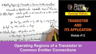 12. Physics | Transistor | Operating Regions of a Transistor in Common Emitter Connections