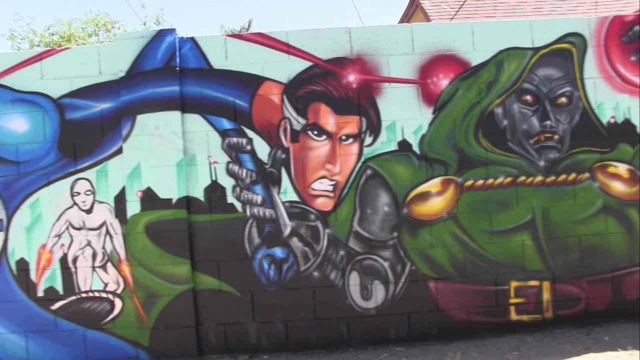 Phoenix Mural Festival 2018 - Artist DENZ ONE - Fantastic 4 Super Hero Piece