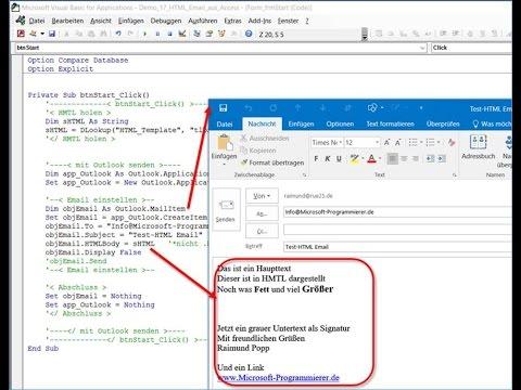 Access : Senden Von HTML Emails über Microsoft Outlook