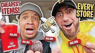 Ordering The CHEAPEST Item From EVERY Fast Food Restaurant (Employees DECIDE) 24 Hour Challenge