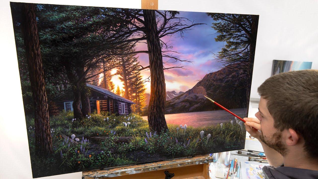Dream-art Oil painting sunset creek mountains landscape with farmer/'s house art