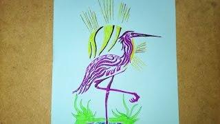 Como desenhar um flamingo tatuagem , How to draw a flamingo, Como dibujar un flamenco
