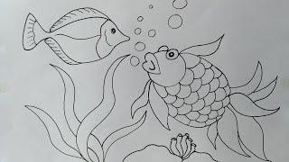 Cara menggambar ikan koki    Menggambar ikan tang