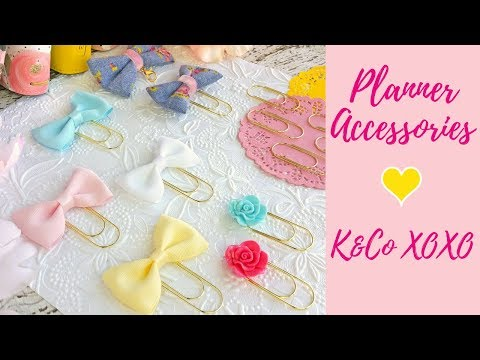 Planner Accessories | K and Co XOXO Bow Clips and Charms