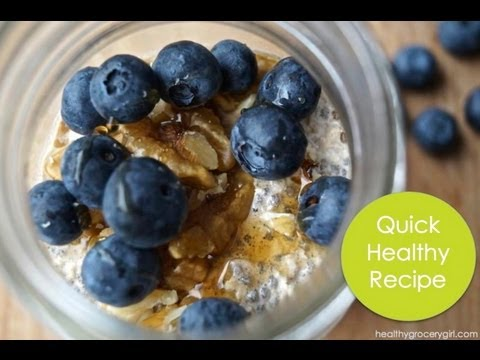 Blueberry Maple Overnight Oats, Quick Healthy Recipe, The Healthy Grocery Girl® Show