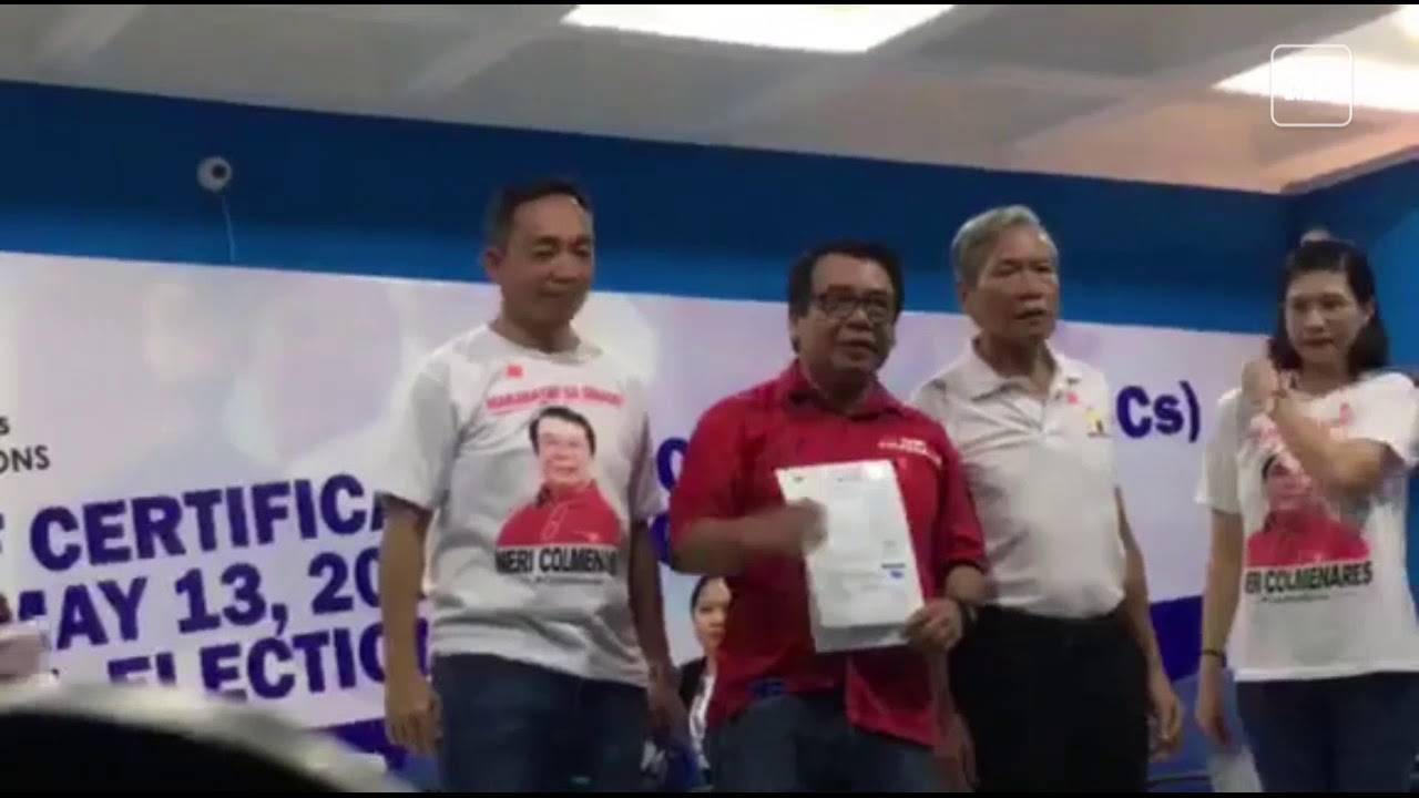 Former Congressman Neri Colmenares files his COC for May 2019 Elections