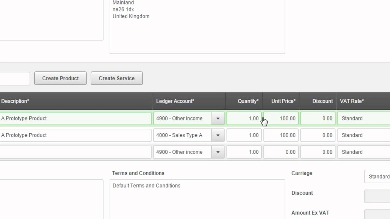 Create a Sales Invoice | Sage One Accounts Extra