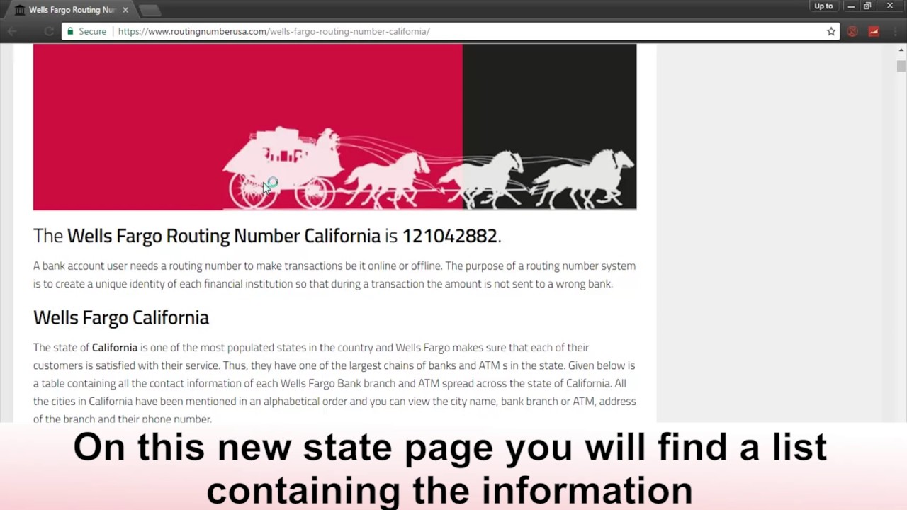 Know Your Wells Fargo Routing Number For California - YouTube