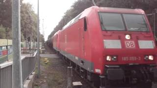 DB 185 059-3 + 185 XXX-X with Mixed Tankers Freight Train!