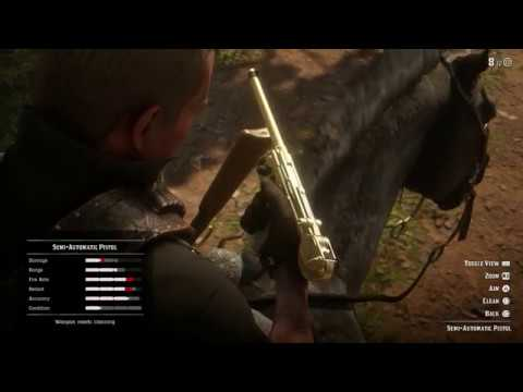 Red Dead Redemption 2 - How To Clean Gold Semi-Automatic Pistol While Riding Horse Tutorial (2018)