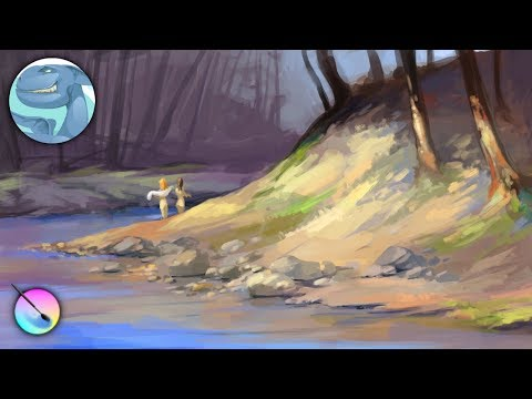 Landscape with a forest river. Krita speed painting.