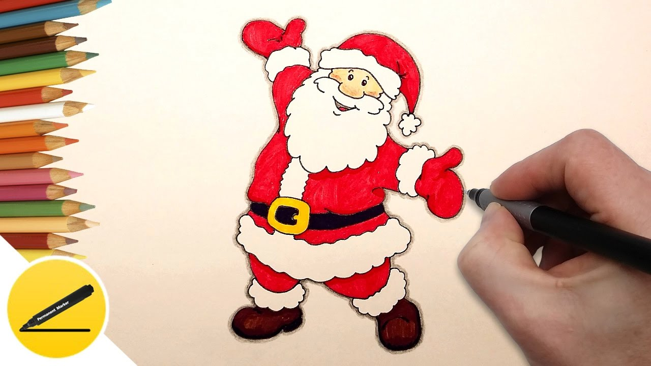 how to draw santa claus step by step easy christmas drawings - Simple Christmas Drawings