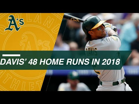 Check out all 48 of Khris Davis' homers in 2018