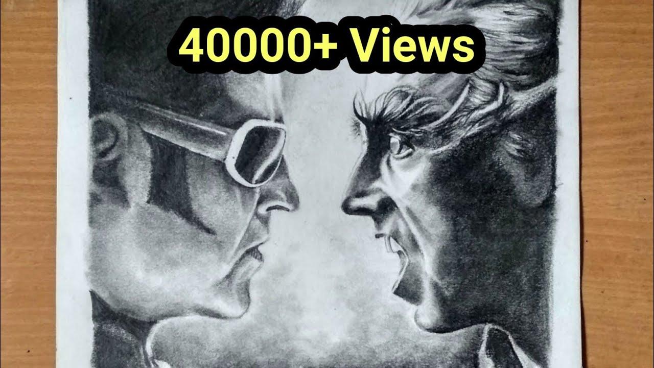 2 0 Poster Drawing Rajinikanth Akshay Kumar Youtube