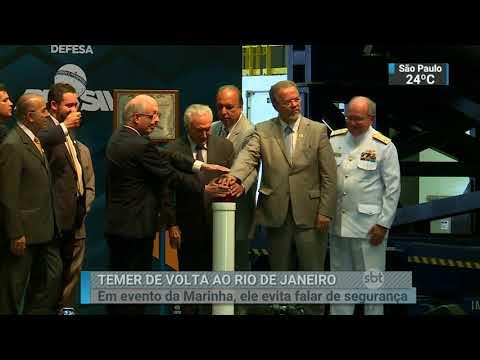 Temer evita falar sobre intervenção durante evento da Marinha no Rio   SBT Brasil (20/02/18)