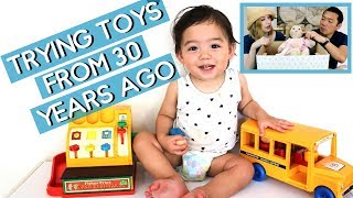 My son tries my toys from the 80's! My Child Doll? Tuppertoys Bus? Fisherprice Cash Register?