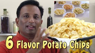 Potato Chips Home Made  - 6 Flavors - Mint -Tangy - Sweet - Garlic Chilli - Crispy Aloo Chips