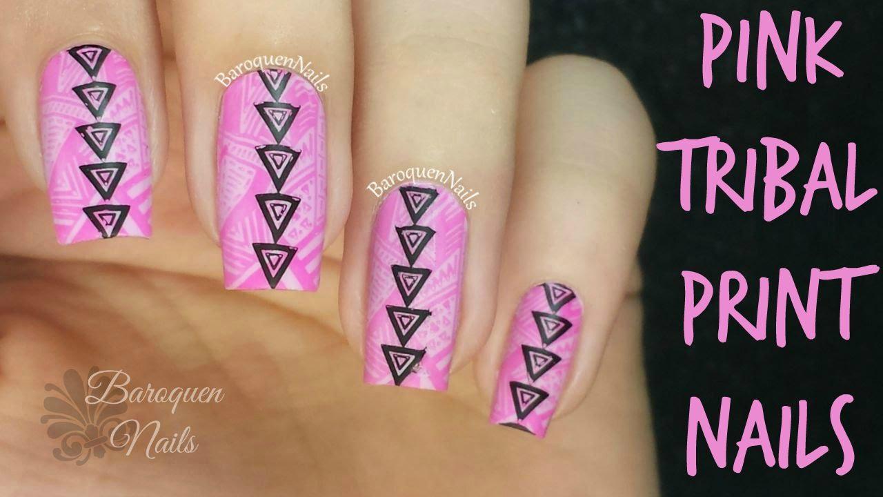 Nail art tutorial easy pink geometric tribal nails stamping nail art tutorial easy pink geometric tribal nails stamping nail art prinsesfo Gallery
