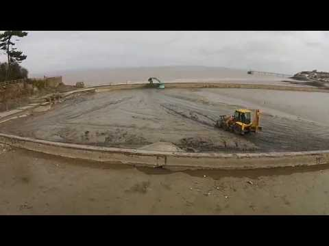 Cleaning the Marine Lake. Clevedon March 2015 DJI Phantom 2 Vision+