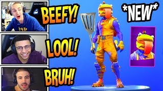 "STREAMERS REACT TO *NEW* ""BEEF BOSS"" SKIN *EPIC* Fortnite FUNNY & SAVAGE Moments"