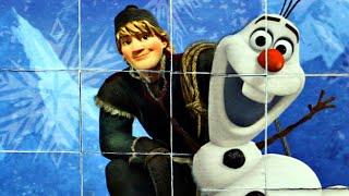 Холодное сердце Кристофф и Олаф собираем кубики пазлы с героями мультика Frozen Холодное сердце