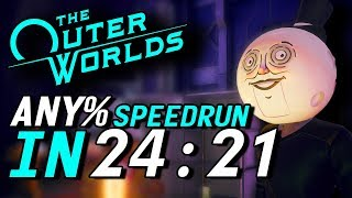 The Outer Worlds Any% Speedrun in 24:21 (28:05 RTA)