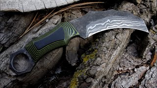 Forging damascus steel karambit