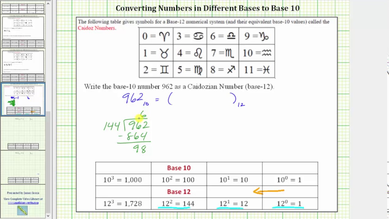 Convert A Base 10 Number To 12