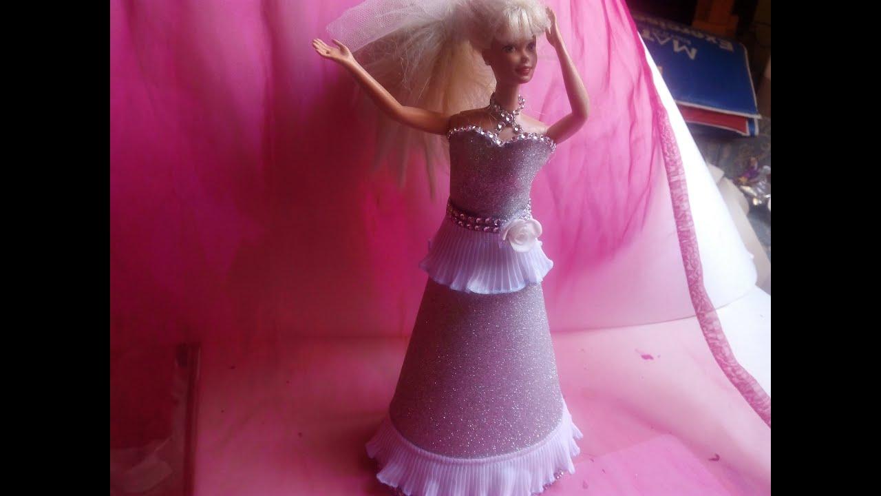 diy Vestido de fiesta para barbie con goma eva 3ª - YouTube