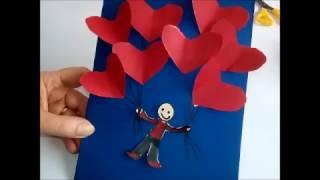 Basteln mit Kindern . Einfache  last-Minute Idee Valentinskarte