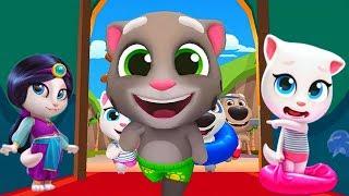 ГОВОРЯЩИЙ ТОМ АКВАПАРК #8 ДРУЗЬЯ Анджела Хэнк Бен и Джинджер веселое видео для детей #УШАСТИК KIDS