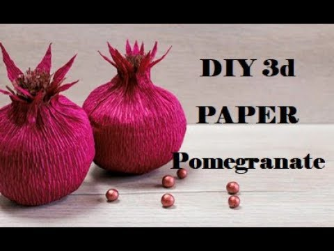 How to Make Paper Fruit. Paper fruit making. Easy Paper fruit Craft. Pomegranate with Crepe Paper.