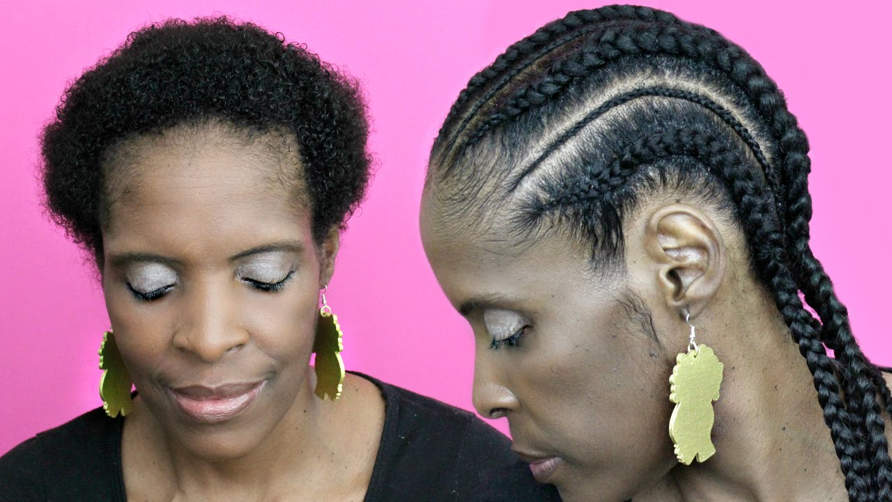 Feed in Cornrows with Extensions on Short Hair Natural ...